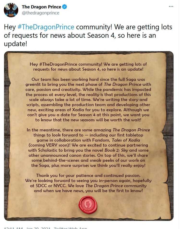 the dragon prince season 4 update