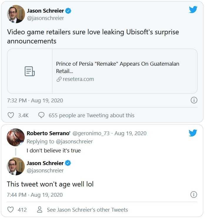 Jason Schreirer prince of persia tweet