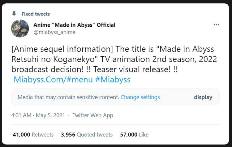 made in abyss is renewed