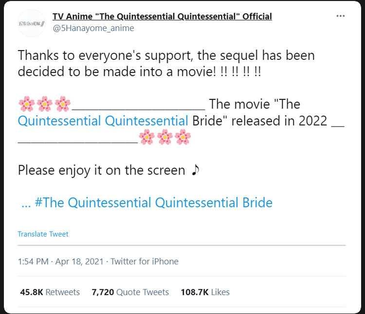 The Quintessential Quintuplets sequel